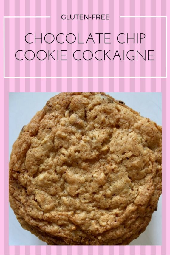 Chocolate-chip cookie cockaigne, gluten-free or regular with oatmeal and chocolate chips