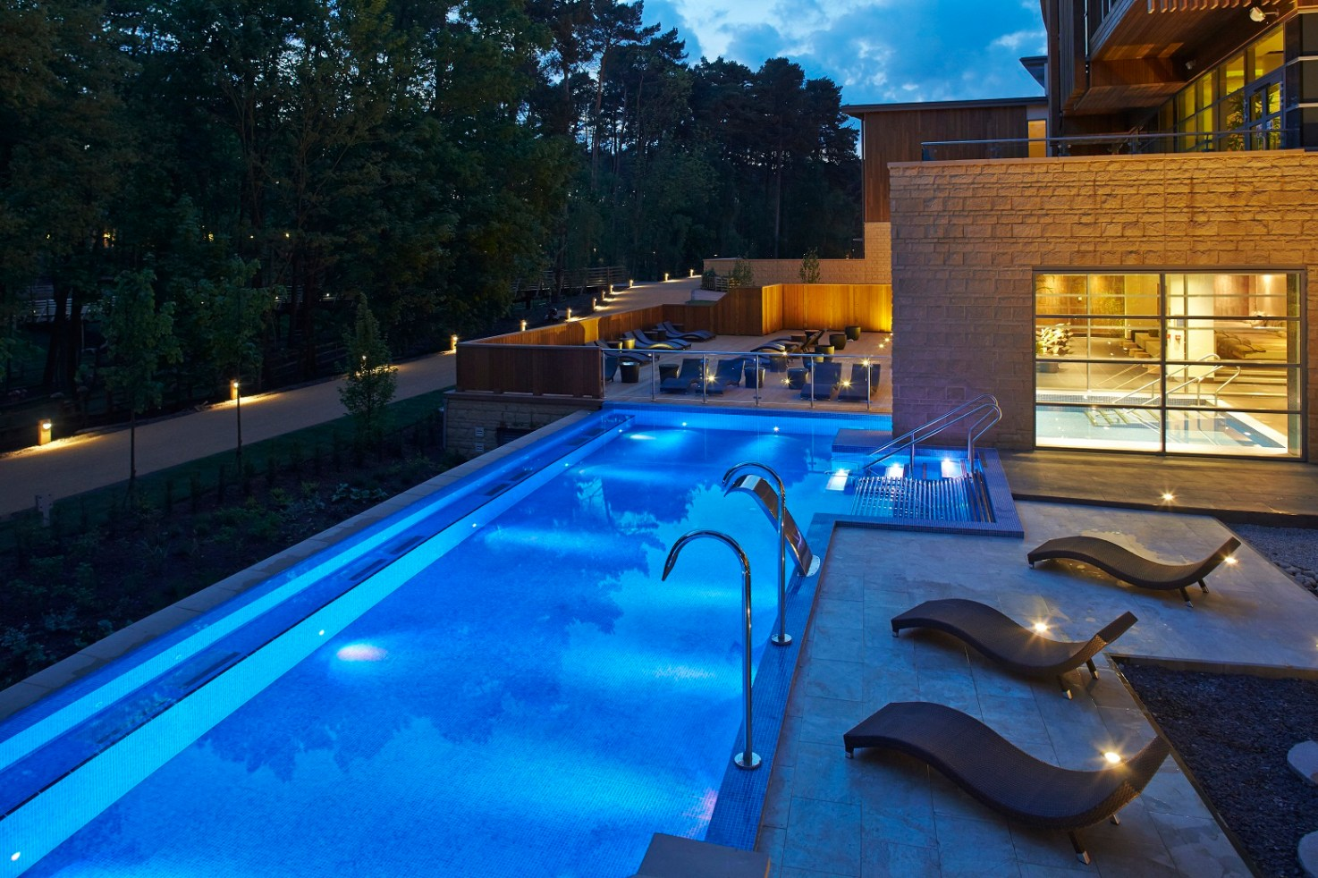 The really rather plush spa at Woburn Forest with six separate health and wellbeing zones