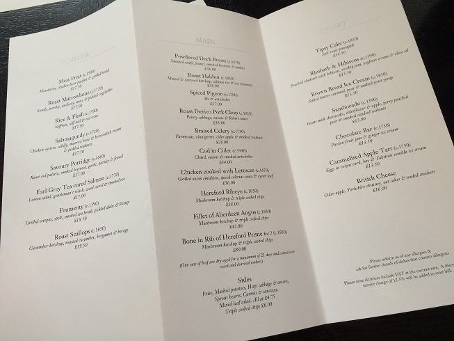 dinner by heston blumenthal menu pdf