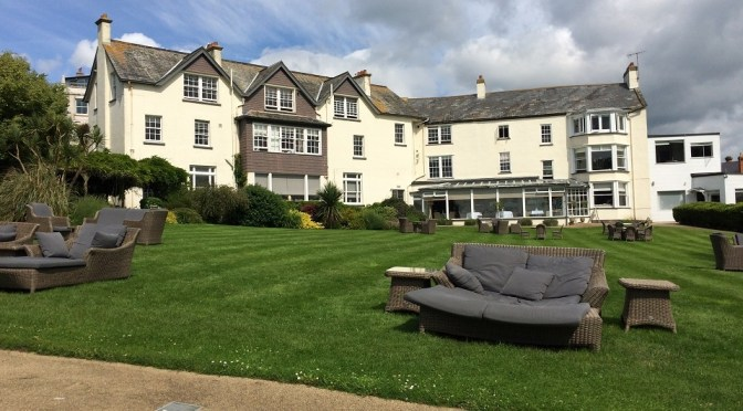 A garden with a view at the Alexandra hotel, Lyme Regis