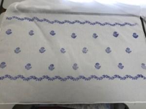 Detail of block-printed border of muslin shawl