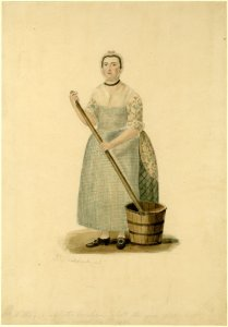 Illustration of Mrs Maltby, wearing a blue-checked apron and holding a mop