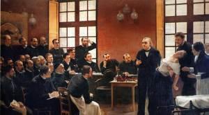 Une leçon du Professeur Charcot à La Salpêtrière, par A. Bouillet ; 1887.