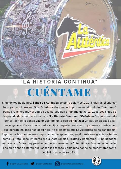 """Banda La Auténtica – Presenta sencillo """"Cuéntame"""""""