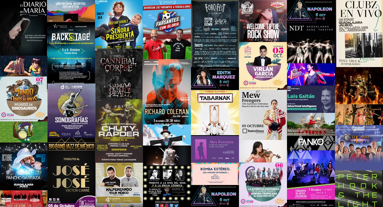 Calendario Semanal Eventos del 1 al 7 de Octubre 2018