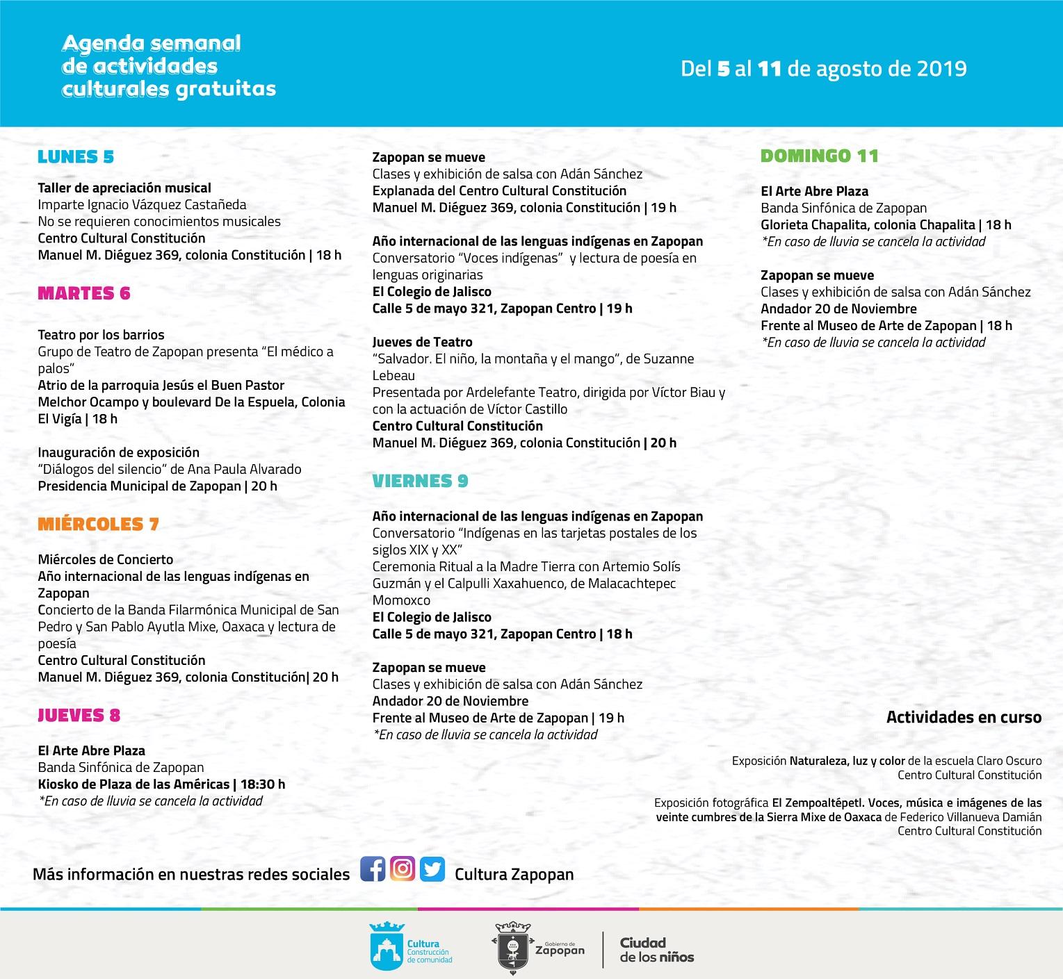 Agenda semanal de actividades Zapopan