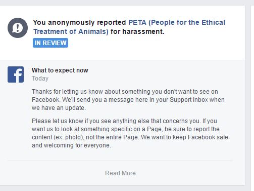 block peta from facebook