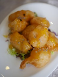 Deep-fried Codfish Cube with Passionfruit sauce