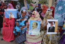 جانب من تجمع أنصار الرئيس السابق في محيط قصر العدل بولاية نواكشوط الغربية (الأخبار)