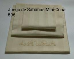 Juego de sábanas Mini-cuna. 50 euros