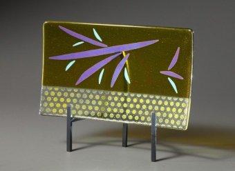 Elizabeth JoneFused Glass Platter in Chartreuse and Purple for E Jones-640