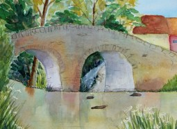 """Under the Bridge,"" watercolor"