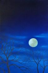 Full Moon Over Winter Trees