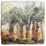"""Rooting for the Sun,"" encaustic"