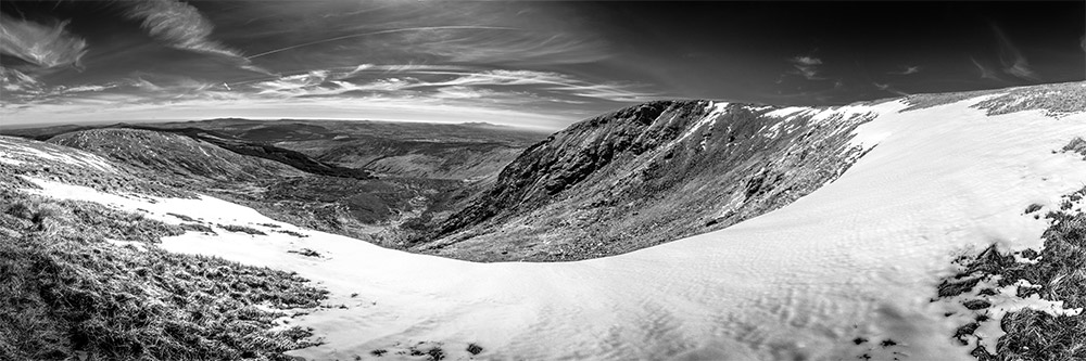 Lugnaquilla in snow, black and white, 3 to 1 ratio, Ireland- Fine Art Print