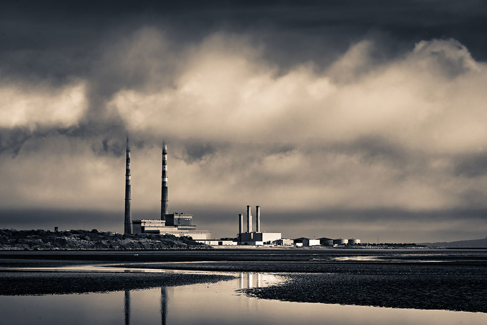 Print of Poolbeg chimneys, Dublin bay
