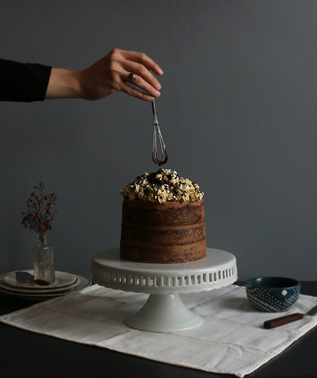 Chocolate and Popcorn Topped Cake
