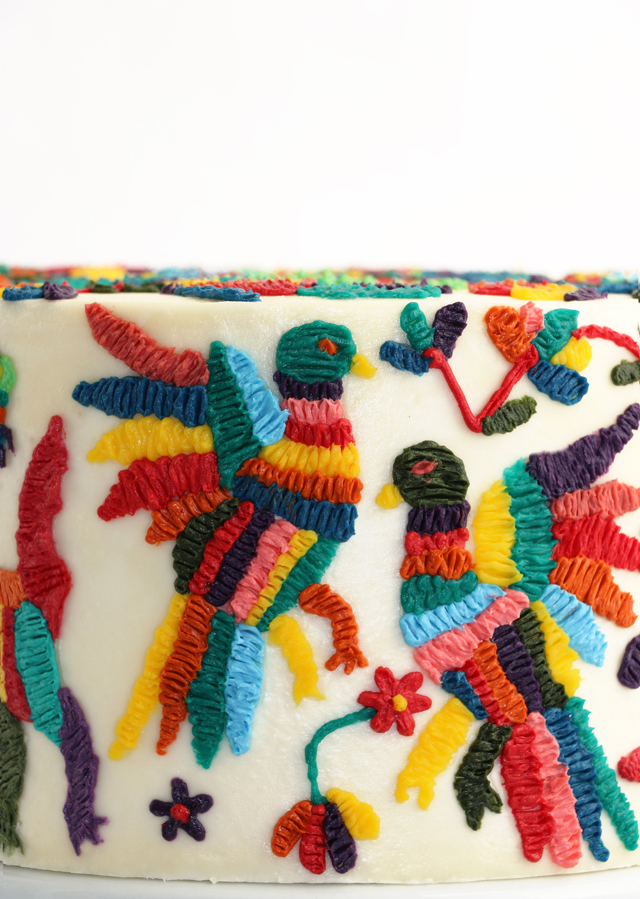 Otomi Embroidery Cake - Closeup