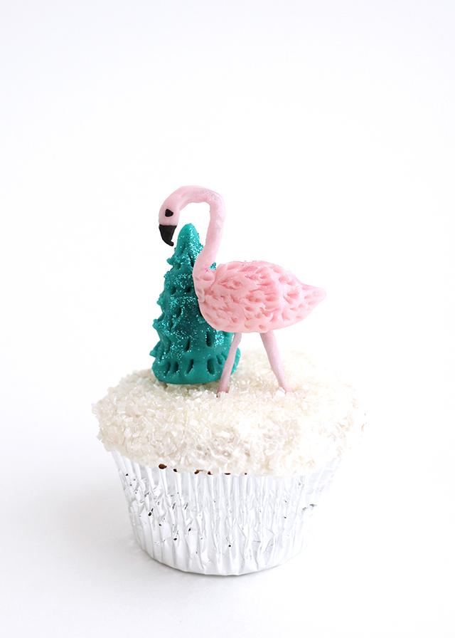 Flamingo Christmas Tree Cupcake