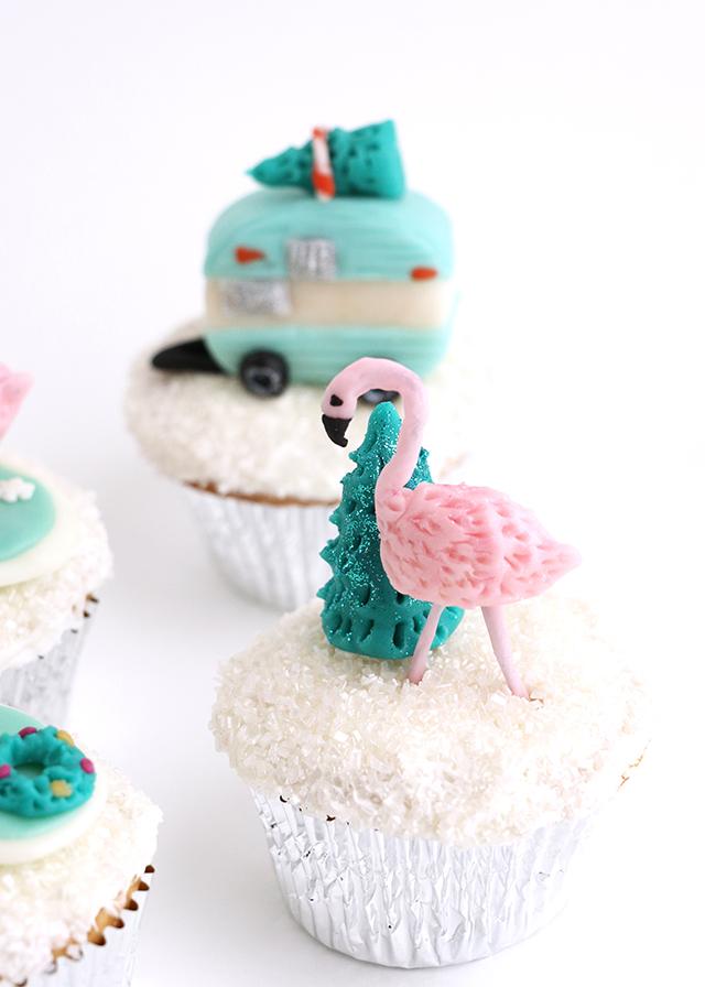 Holiday Flamingo Cupcake Topper