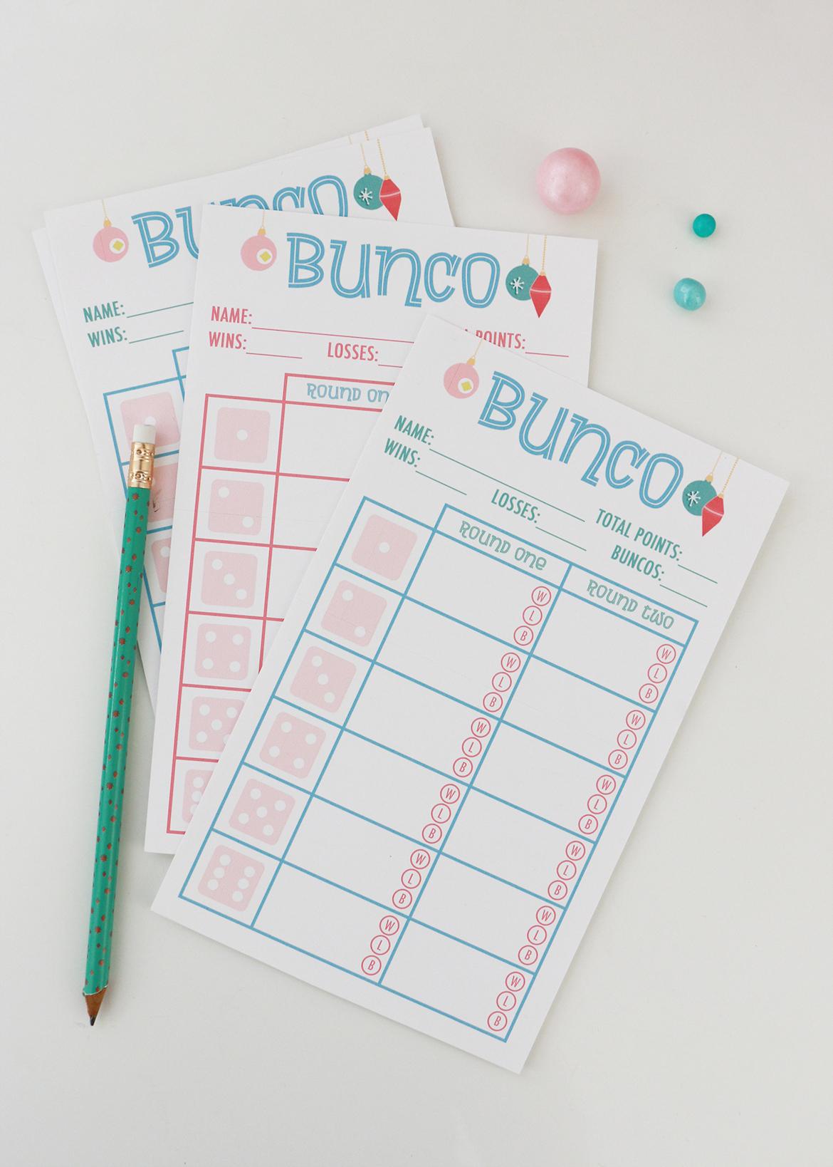 Bunco Score Cards