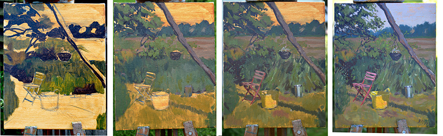 Stages Garden still life wip oil on canvas 8 x 10