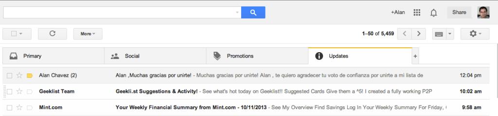 pestaña de actualizaciones en gmail