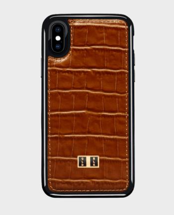 Gold Black iPhone X Case Croco Brown in Qatar