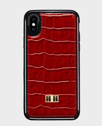 Gold Black iPhone X Case Croco Red in Qatar