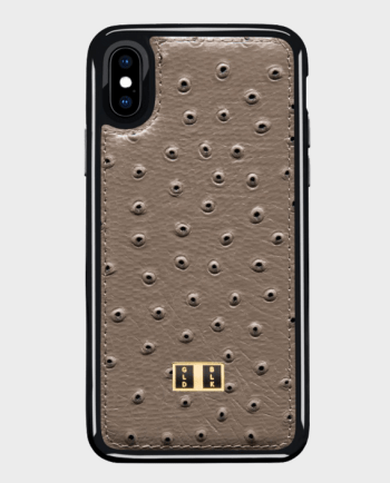Gold Black iPhone X Leather Case Ostrich Grey in Qatar