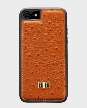 Gold Black iPhone 8 Leather Case Ostrich Orange in Qatar