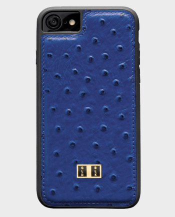 Gold Black iPhone 8 Leather Case Ostrich Royal Blue in Qatar