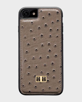 Gold Black iPhone 7 Leather Case Ostrich Gray