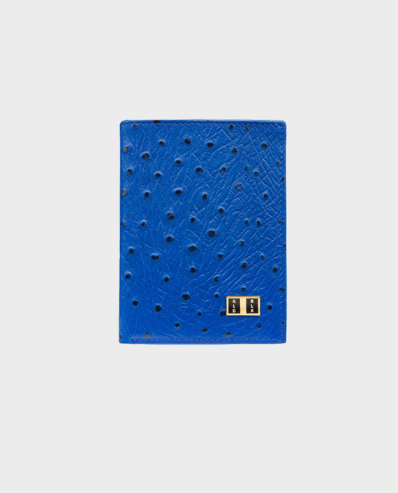 Goldblack Bifold Slim Wallet Ostrich Royal Blue in Qatar