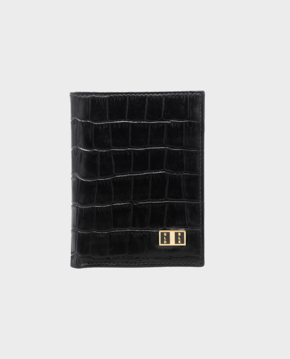 Goldblack Bifold Slim Wallet Croco Black in Qatar