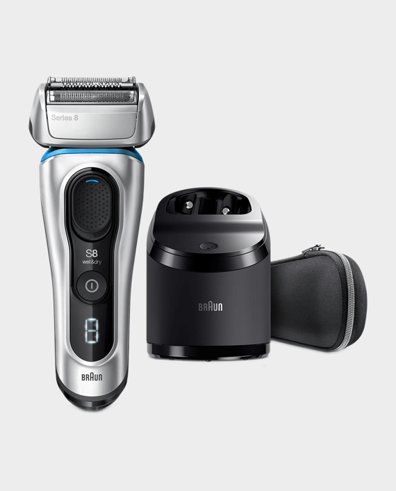 Braun Series 8 8390cc Wet & Dry Men's Electric Shaver with Clean & Charge Station and Travel Case - Silver in Qatar