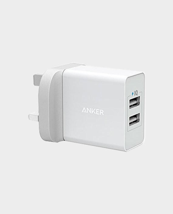 Anker 24W 2-Port USB Charging Adaptor UK-White in Qatar