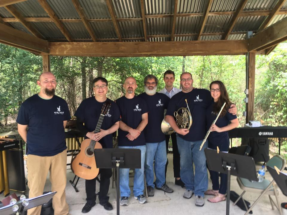 blackbayou 2016 Composer John Teske with performers James Paul Waller, Alan Goldspiel, Mel Mobley, Paul Christopher, Jason Rinehart & Mallory Sanchez at Black Bayou National Wild