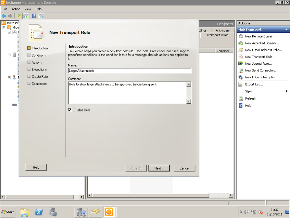 How To Configure Exchange 2010 To Delay Sending Of Emails With Large Attachments Until Approved By Moderator (2/6)