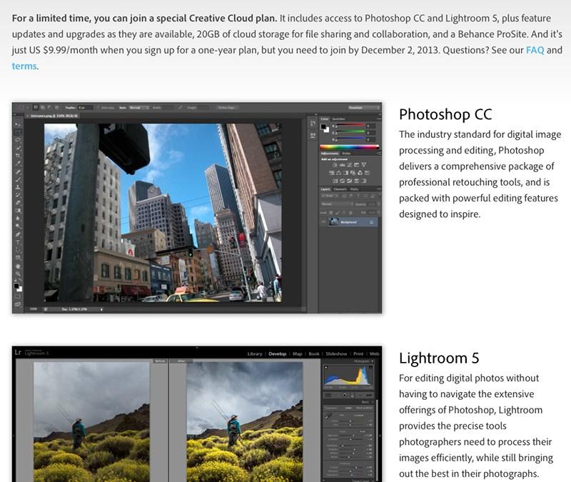Adobe Photoshop / Lightroom Creative Cloud Deal