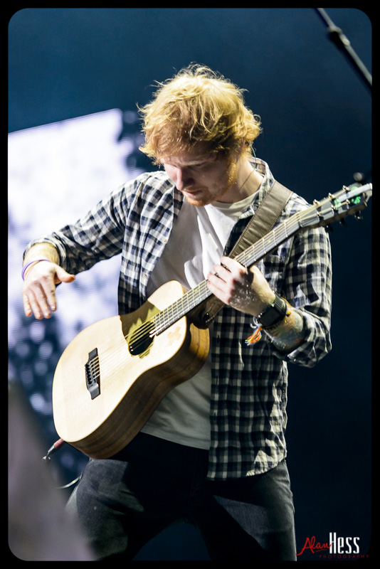Ed Sheeran performs during his X World Tour in San Diego, California on June 23, 2015 at the Valley View Casino Center
