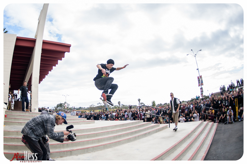 Skateboarding the Sports Arena Steps