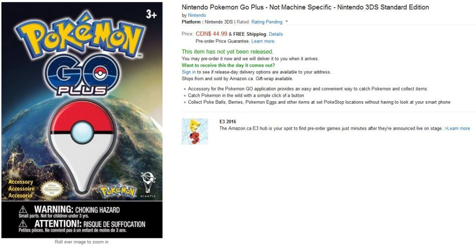 pokemon go, pokemon go releae date, pokemon go accessory price canada