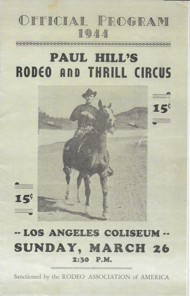Paul Hill 1944 Rodeo Program