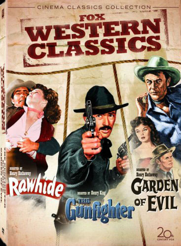 DVD cover art for triple bill classic western movies Rawhide, The Gunfighter, and Garden of Evil