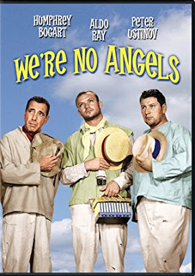 Poster art for movie We're No Angels featuring Humphrey Bogart Aldo Ray Peter Ustinov