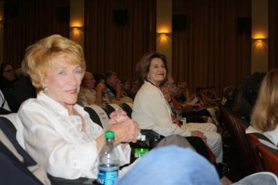 photo of Jeanne Cooper and Diane Baker seated in movie theater