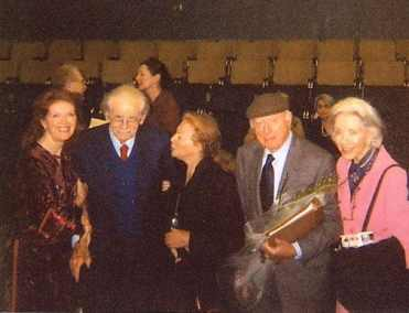 group photo of Samantha Eggar, Norman Corwin, Peggy Webber, Norman Lloyd, and Marsha Hunt