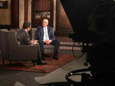 photo of Ben Mankiewicz with Co-Host Alan K. Rode in TCM studio