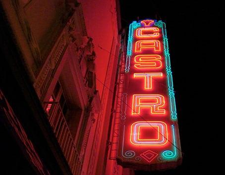 photo of Castro Theatre neon lit marquee in San Francisco